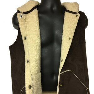 Lauren R.L. Brown Faux Suede Vest Sheepskin Size L